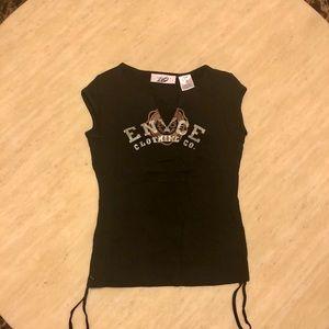 New ENYCE V Neck Logo Tee in Black Size S/M